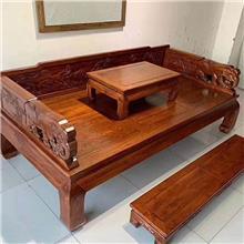 老榆木罗汉床三件套 仿古小户型罗汉沙发床  实木罗汉榻 睡榻 老榆木实木家具
