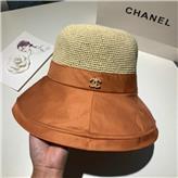 ChaneI小香2020新款拼色草帽纯手工编织可折叠渔夫帽