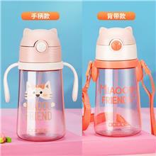 广东杯子直销希乐塑料水杯儿童便携吸管杯夏天可爱卡通小学生幼儿园宝宝水壶
